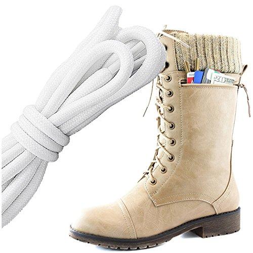 Dailyshoes Womens Bekämpa Stil Snörning Fotled Toffeln Rund Tå Militära Sticka Kreditkorts Kniv Pengar Plånbok Ficka Stövlar, Vit Svart Beige Pu