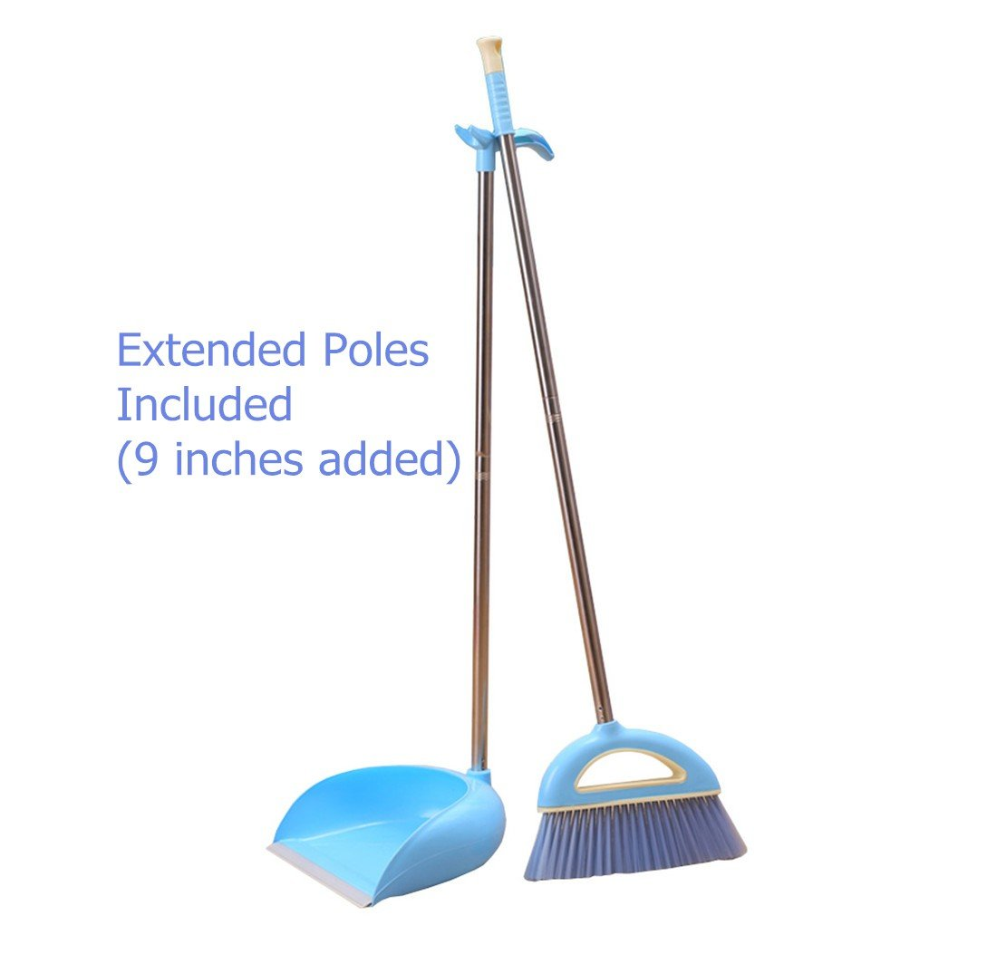 Broom and Dustpan, Long Handle Broom and Dust Pan Set. Dustpan with Long Handle 36.9 inches 47.1 inches Long Handle, Never Damage Wood Floor for Schools,Kidgarden,Hotel,Hospital,Lobby (Blue)