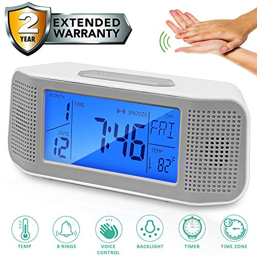Alarm Clock for Bedroom Voice Operated Backlight LCD Large Digital Clock Battery Operated Travel Clock for Heavy Sleeper, Have 8 Sound and Timer Function Display Time Temp Time Zone (Grey 2019)