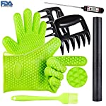 BBQ Grill Oven/Cooking Gloves-Meat Claws Set - Targher 5 in 1 BBQ Set with Silicone BBQ Gloves , Bear Claws, Digital Cooking Thermometer, Silicone Basting Brush and Non-stick BBQ Baking Mat - For Indoor & Outdoor Cooking 10 ► EXTREME HEAT RESISTANT WITH PREMIUM QUALITY- Each mitt of Targher BBQ gloves is crafted with aramid fabric, a type of high performance, and heavy duty synthetic known for its ability to withstand high heat and repeated use. Each Inner liner is crafted with heat resistant polyester cotton, 2 - Level system protect your hands! The highest heat resistant is available up to 932°F/500°C. Your safety protection is first and essential. ► MULTI-FUNTION AND VERSATILE- This BBQ Cooking gloves are not just perfect ACCESSORIES for Grill but also a good helper for kitchenware. GREAT for opening a jar, taking out your hot bread from oven, fireplace logs, car repair, welding, light-bulb changes and more! Perfect to protect your hands for grilling, cooking, baking, or handling super-hot items in the kitchen and outdoors.. ► NO-SLIP SILICONE AND FOREARM PROTECTION- Silicone super-grip surface to prevent anything slipping from your grasp and 5 inches cuff keeps your wrists and lower forearms protected from high temperatures. It allows your hands & fingers move freely, minimize fatigue Silicone strips on palm & back of hand, anti-skid, good for holding large bowl with soup by flexible right handed & left handed! You will cook longer, stronger!