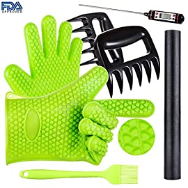 BBQ Grill Oven/Cooking Gloves-Meat Claws Set - Targher 5 in 1 BBQ Set with Silicone BBQ Gloves , Bear Claws, Digital Cooking Thermometer, Silicone Basting Brush and Non-stick BBQ Baking Mat - For Indoor & Outdoor Cooking 48 SUPERIOR VALUE SET - This BBQ kit includes: 2 silicone gloves, 2 meat claws, 1 silicone basting brush and 4 S shaped hooks. These grill accessories are unique BBQ gifts for men & barbecue lovers truly enjoy. It is a perfect complement to any grilling and kitchenware. We are fully confident that you will have a wonderful experience after you have a BBQ or cooking by using them. NO-SLIP, HEAT RESISTANT SILICONE GLOVES -Our silicone gloves protect your hands against grilling, baking when you are cooking or having a BBQ. The gloves can withstand high temperature up to 230 Degrees. Non-slip surface, water proof, stain resistant. PREMIUM BEAR MEAT CLAWS - Targher 2 ultra-sharp meat claws which are made of BPA-free nylon plastic and approved by FDA can withstand heat-resistant up to 230℃. Easy to grasp and shred pork, chicken, beef turkey and more. You can pick up hot food with comfortable handles and never worry about the tips melting or bending. They could be easily cleaned by hand after using.