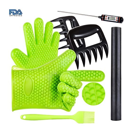 BBQ Grill Oven/Cooking Gloves-Meat Claws Set - Targher 5 in 1 BBQ Set with Silicone BBQ Gloves , Bear Claws, Digital Cooking Thermometer, Silicone Basting Brush and Non-stick BBQ Baking Mat - For Indoor & Outdoor Cooking 1 ► EXTREME HEAT RESISTANT WITH PREMIUM QUALITY- Each mitt of Targher BBQ gloves is crafted with aramid fabric, a type of high performance, and heavy duty synthetic known for its ability to withstand high heat and repeated use. Each Inner liner is crafted with heat resistant polyester cotton, 2 - Level system protect your hands! The highest heat resistant is available up to 932°F/500°C. Your safety protection is first and essential. ► MULTI-FUNTION AND VERSATILE- This BBQ Cooking gloves are not just perfect ACCESSORIES for Grill but also a good helper for kitchenware. GREAT for opening a jar, taking out your hot bread from oven, fireplace logs, car repair, welding, light-bulb changes and more! Perfect to protect your hands for grilling, cooking, baking, or handling super-hot items in the kitchen and outdoors.. ► NO-SLIP SILICONE AND FOREARM PROTECTION- Silicone super-grip surface to prevent anything slipping from your grasp and 5 inches cuff keeps your wrists and lower forearms protected from high temperatures. It allows your hands & fingers move freely, minimize fatigue Silicone strips on palm & back of hand, anti-skid, good for holding large bowl with soup by flexible right handed & left handed! You will cook longer, stronger!