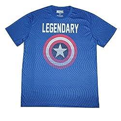 Marvel Comics Captain America Mens Crew-Neck Short Sleeve T-Shirt L Blue