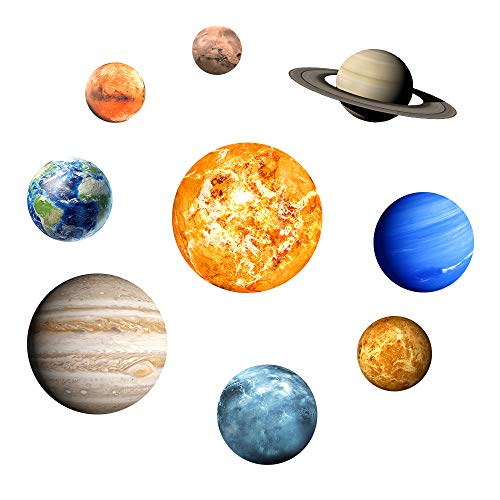 Nine Planets Solar System Pattern Wall Sticker Glow in The Dark Wall Decoration for Kids Bedroom Living Room