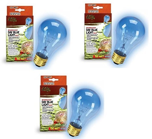 (Zilla Incandescent Bulb, Day Blue Light and Heat, 150 Watt (3 Pack))