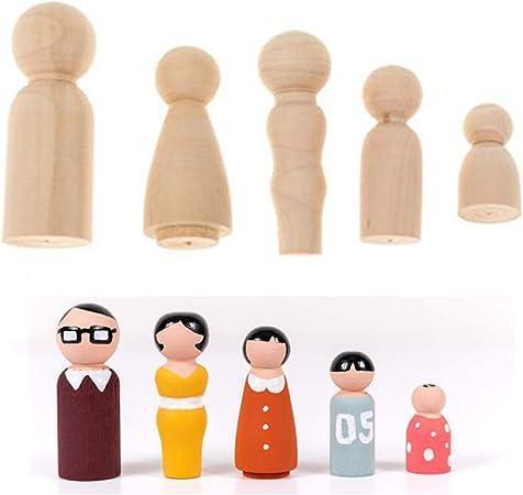 4 Size Female Male Wooden Peg Dolls Figure Wedding Cake Toppers DIY Toy 5//10Pcs
