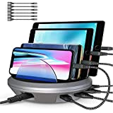 Charging Station, POWRUI 4 Ports Multiple USB Charger Station and Phone Dock Stand Compatible Samsung, iPhone, Ipad, 6.8A/34W, 6 Pcs Cables Included, Space Gray