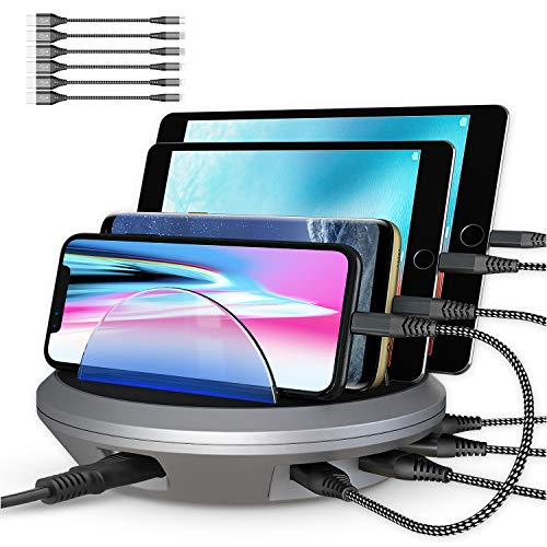 Charging Station, POWRUI 4 Ports Multiple USB Charger Station and Phone Dock Stand Compatible Samsung, iPhone, Ipad, 5V/4.8A, 6 Pcs Cables Included, Space Gray