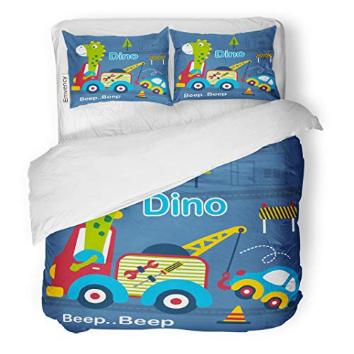 Semtomn Decor Duvet Cover Set Twin Size Animal Dino and Tow Truck Funny Cartoon Baby Car 3 Piece Brushed Microfiber Fabric Print Bedding Set Cover