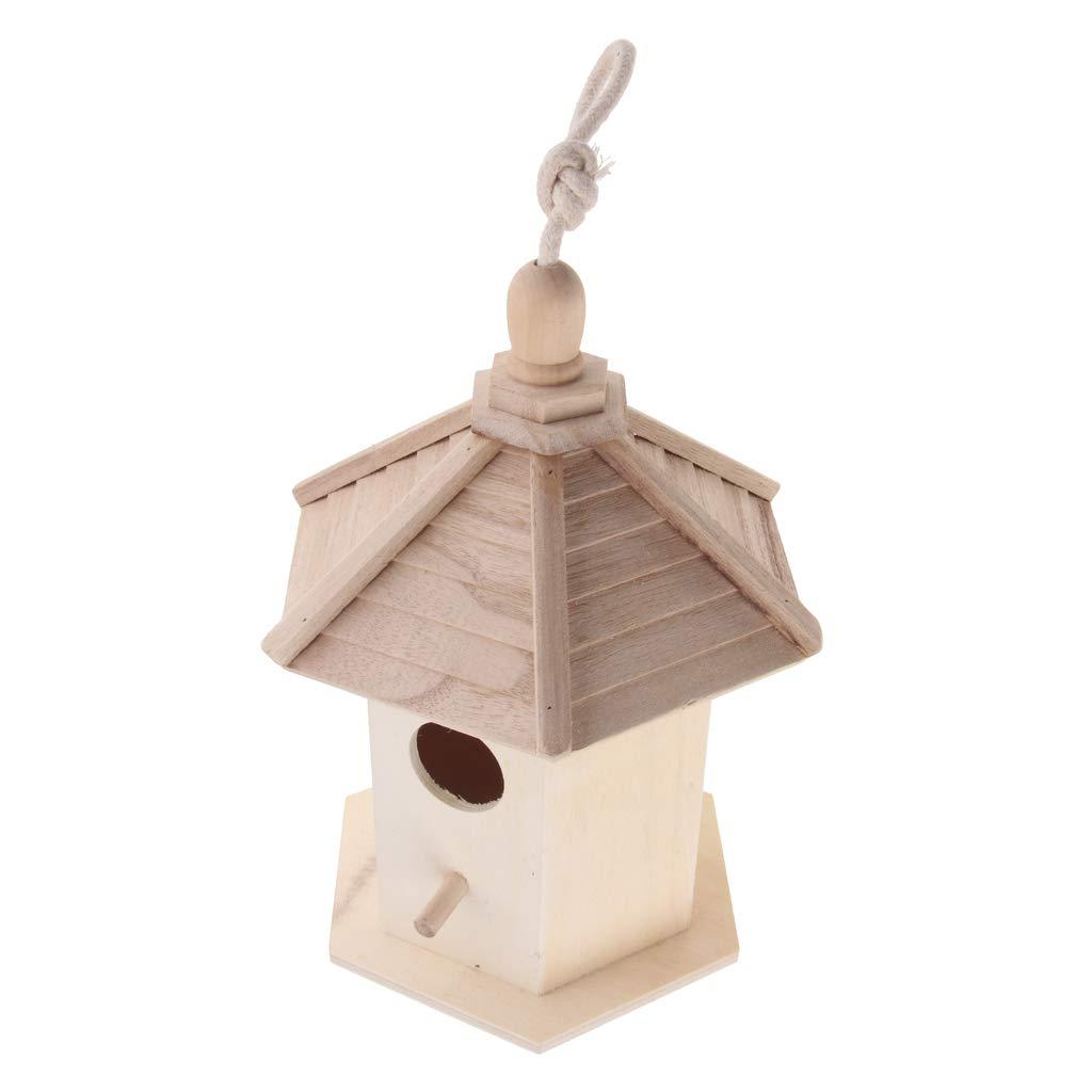 Fenteer Wooden Wood Hanging Free Standing Bird House Nesting Box Feeder - 20x 17x 25cm