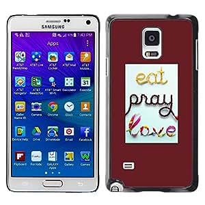 FECELL CITY // Duro Aluminio Pegatina PC Caso decorativo Funda Carcasa de Protección para Samsung Galaxy Note 4 SM-N910 // Pray Red Quote Love Text Quote