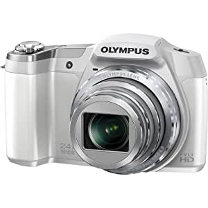 Olympus Stylus SZ-16 iHS Digital Camera with 24x Optical Zoom and 3-Inch LCD (White) (Old Model)