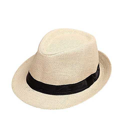 ❤️ Mealeaf ❤️ Children Kids Summer Beach Straw Hat Jazz Panama Trilby Fedora Hat Sun Protection Gangster Cap]()