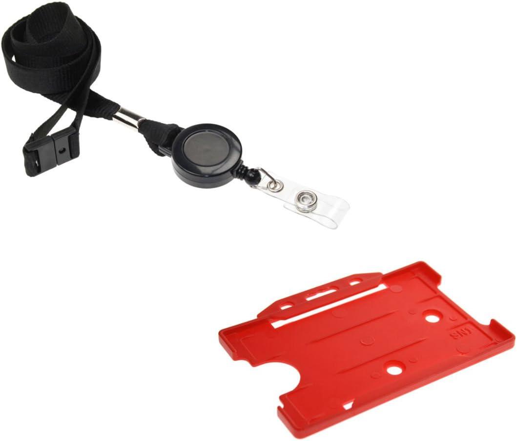 5 pcs Black Rubber ID Card Neck Badge Strap Lanyard