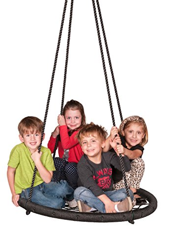 Spin Kit - M & M Sales Enterprises Web Riderz Outdoor Swing N' Spin- Safety Rated to 600 lb, 39 inch Diameter, Adjustable Hanging Ropes, Ready to Hang and Enjoy as a Family