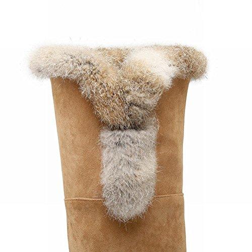 well-wreapped Carolbar Women's Faux Fur Fashion Hidden Heel Tall Snow Boots