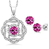 5.06 Ct Round Pink Created Sapphire 925 Sterling Silver Pendant Earrings Set
