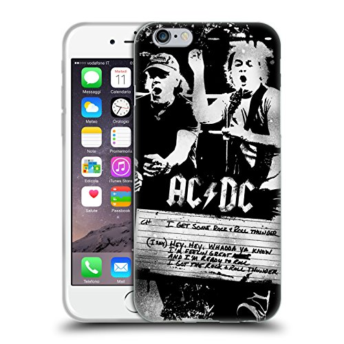 Officiel AC/DC ACDC Tonnerre De Rock 'n' Roll Paroles Étui Coque en Gel molle pour Apple iPhone 6 / 6s