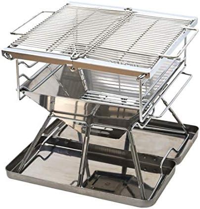 KINLANG Barbecue de charbon de bois pliant portatif original fait d'acier inoxydable (Size : Taille unique)