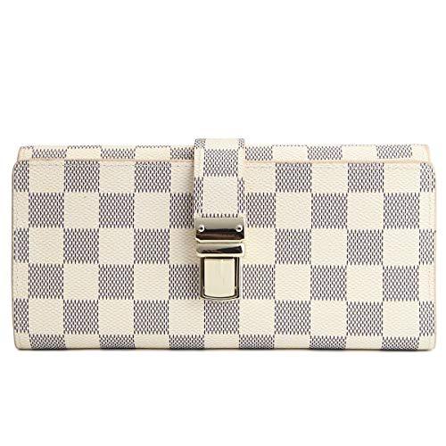 Wallets for Women Genuine Leather Clutch Flower Purse RFID Blocking with Card Holder Organizer (White) ()