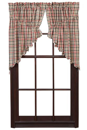 Victory Swag Valance - VHC Brands Victory Lined Rod Pocket Prairie Swag in White (Set of 2)