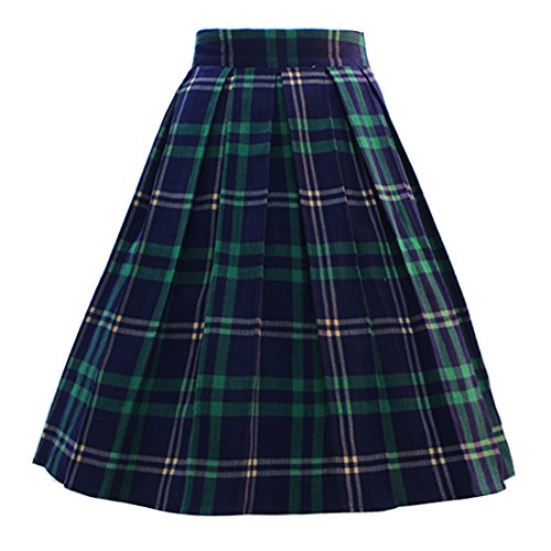 Dressever Women's Vintage A-line Printed Pleated Flared Midi Skirts Plaid (Green and Navy) ()