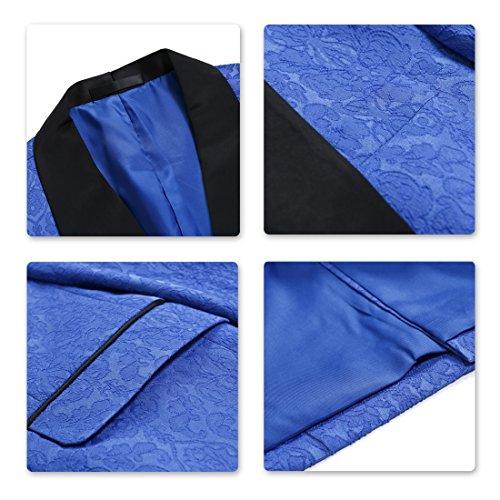 Giacca Da Formale Rosso Pantaloni Abito Pezzi 3 Blu Fit Nero Slim Smoking Gilet Abiti Uomo Pranzo TqqRxP7