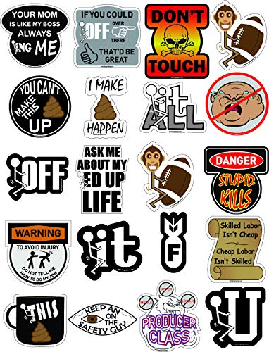 Hard Hat Adult Stickers, 100% Vinyl 20 Pack for Construction, Hardhat, Tool Box, Helmet and More