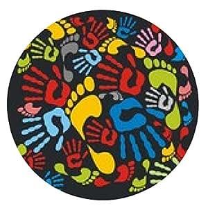 alfombrilla de ratón huellas de manos y huellas color Mixta - ilustración vectorial. - ronda - 20cm