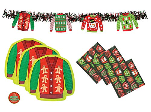 Ugly Sweater Party Supplies Pack  Plates Napkins and Award Sticker Serves 32