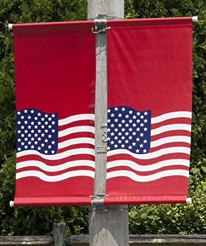 Displays2go Banner Pole Hardware Kit for Mounting 2 x 24-Inch Flags, Outdoor, Rust Resistant, Aluminum Mounts, Fiberglass Poles (2DBBRCV24)