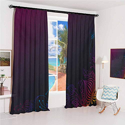 GUUVOR Indigo Sun Protection Insulated Bedroom Living Room Curtain Rainbow Colored Image with Dark Black Purple Ombre Backdrop Flower Like Swirls Art 2 Panels W52 x L54 Inch Multicolor