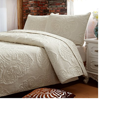 Brandream White Beige Vintage Floral Comforter Set Queen Size Bed Quilt Set (Vintage Comforter Sets)