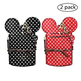Cute Neck Pouch, Small Fashion Student ID Card Case Holder Wave Dot Coin Wallet Purse for Women/Girls/Children Travel (Black+Red)