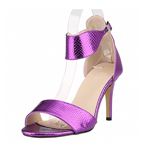 Haodasi New Women Ladies High Heels Peep Toe Belt Buckle Crocodile Pattern Sandals Shoes Purple aLSxPCmOp