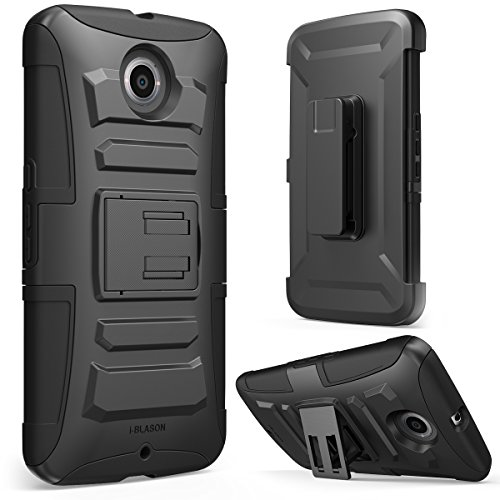 Nexus 6 Case, i-BlasonDual Layer [Kickstand] Google Nexus 6 Case (2014 Release) Prime Series Holster Cover with Kickstand and Locking Belt Swivel Clip for Motorola Nexus 6 Phone (Black)