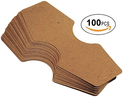 100 pcs 5.5'' x 2.25'' Kraft Fold Over Paper Necklace Earrings Display Hanging Cards for Jewelry Accessory Display by FlanicaUSA