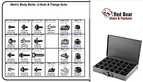 "Metric Body Bolts, U-Nuts, and Flange Nuts in 24 Hole Metal Tray Assortment (18""w x 12""d x 3""h) by RED BOAR Chain"