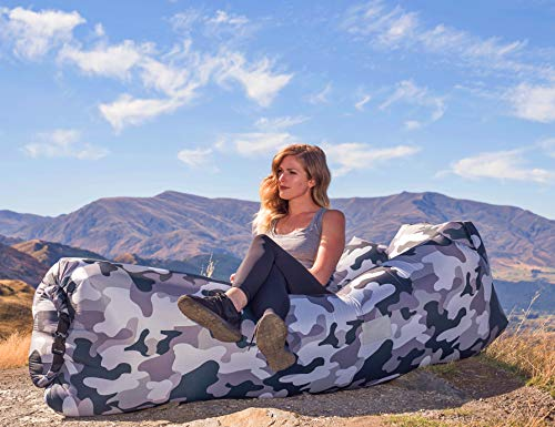 AlphaBeing Inflatable Lounger - Best Air Lounger for Travelling, Camping, Hiking - Ideal Inflatable Couch for Pool and Beach Parties - Perfect Air Chair for Picnics or Festivals (Urban CAMO)