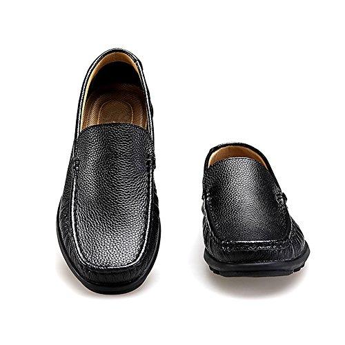 Rismart Heren Slip Op Mocassins Comfortabele Casual Lederen Jurk Instappers Schoenen Zwart