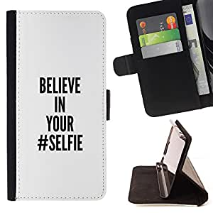 King Air - Premium PU Leather Wallet Case with Card Slots, Cash Compartment and Detachable Wrist Strap FOR Samsung Galaxy S4 IV I9500 i9508 i959- Belive in You Selife