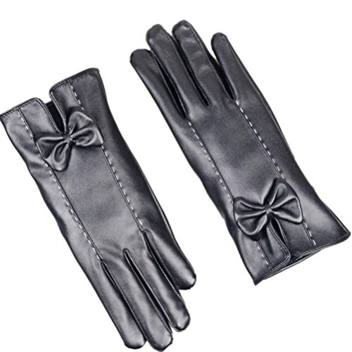 TAORE Women's Cashmere Lined Luxurious Leather Touch Screen Gloves (Black)