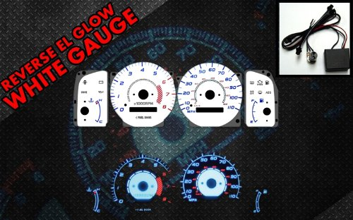 Brand New White Face Blue Indigo Reverse Glow Gauges For 98-02 Toyota Corolla w/ RPM (I-442) (Glow Gauge White Reverse)
