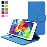 Galaxy S5 Case, Snugg™ - Leather Wallet Case with Lifetime Guarantee (Electric Blue) for Samsung Galaxy S5