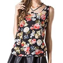 Napoo Women O-Neck Flowers Printed Sleeveless Vest Chiffon Tops T-Shirt