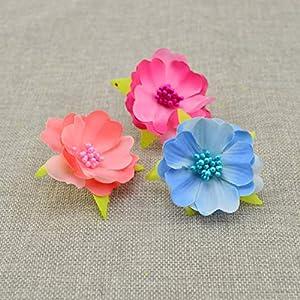 Tokyo Summer 10Pcs Artificial Flowers for Wedding Decoration Silk Stamens for Needlework DIY Handmade Bride Wreath Accessories Pompom,Milk White 3