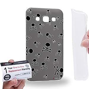 Case88 [Samsung Galaxy E5] Gel TPU Carcasa/Funda & Tarjeta de garantía - Art Blooming Skulls Grey Art1916