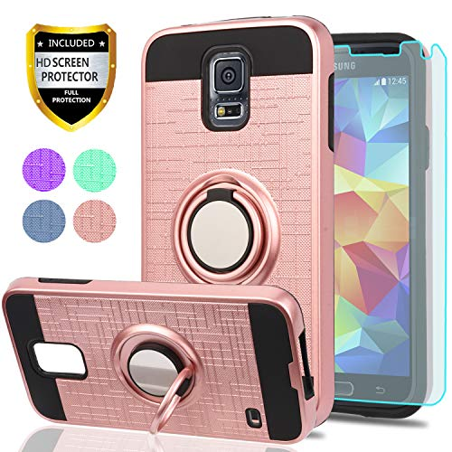 one Case with HD Screen Protector, YmhxcY 360 Degree Rotating Ring & Bracket Dual Layer Shock Bumper Cover for Samsung Galaxy S5 (I9600)-ZH Rose Gold ()