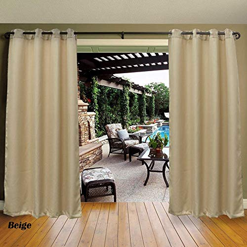 Cross Land Outdoor Patio Curtains Drapes for Canopy Gazebo Privacy Water & Wind Repellent Courtyard Exterior Blackout Shade for Porch (54