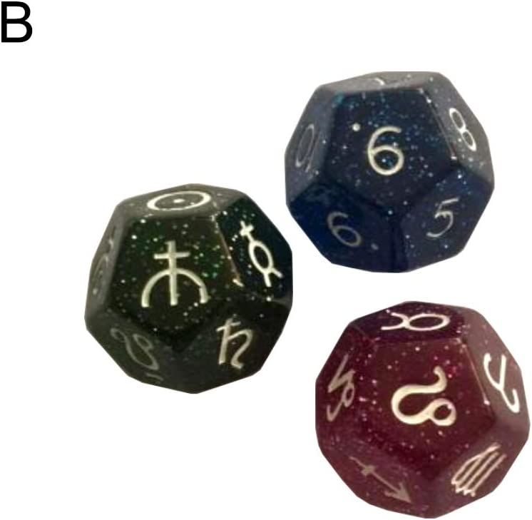Tarot-Konstellation Mehrfarbige 12-seitige Harzw/ürfel Astrologie Divination B